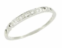 Vintage Diamond Set Band in 14 Karat White Gold