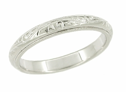 Art Deco Hand Engraved Vintage Wedding Ring in 14 Karat White Gold