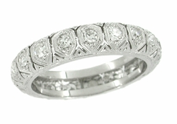 Art Deco Diamond Set Antique Wedding Band in Platinum - Size 8