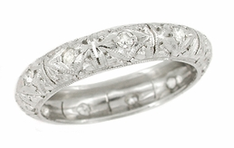 Art Deco Gilman Diamond Antique Wedding Band in Platinum - Size 6 1/2