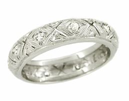 Art Deco Diamond Set Antique Wedding Band in 18 Karat White Gold - Size 5 1/2