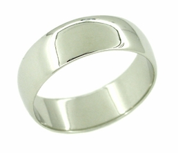 Men's 7.5 mm Wedding Band Ring in 14 Karat White Gold