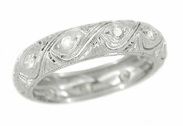 Art Deco Diamond Set Antique Wedding Band in Platinum - Size 5 3/4