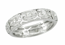 Art Deco Diamond Set Antique Geometric Wedding Band in Platinum - Size 5 3/4
