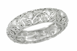 Art Deco Diamond Set Antique Flowers Wedding Band in Platinum - Size 5 3/4