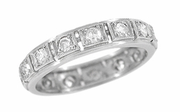 Mid Century Diamond Set Antique Wedding Band in Platinum - Size 6