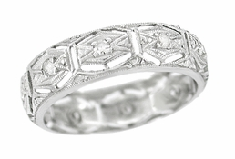 Art Deco Norfolk Antique Filigree Diamond Wedding Band in Platinum - Size 6