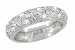 Art Deco Collinsville Antique Diamond Wedding Band in Platinum - Size 6