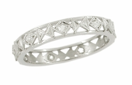 Art Deco Filigree Platinum Antique Diamond Wedding Band - Size 7 1/4