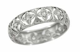 Art Deco Lucky Clover Diamond Set Antique Wedding Band in Platinum - Size 7 1/2
