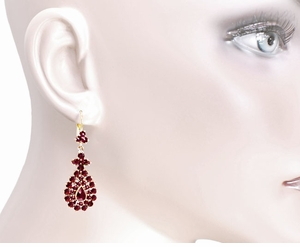 Victorian Bohemian Garnet Teardrop Earrings in 14 Karat Yellow Gold and Sterling Silver Vermeil - Click to enlarge
