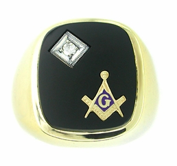 Men's Onyx and Diamond Mason Ring in 14 Karat Gold