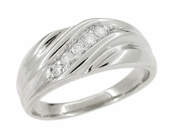 Vintage Retro Moderne Men's Diamond Set Wave Ring in 14 Karat White Gold