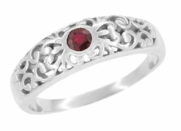 Filigree Ruby Ring in 14 Karat White Gold