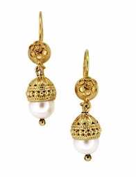 Victorian Pearl Drop Dangle Earrings in 15 Karat Gold