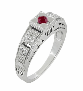 Filigree Engraved Art Deco Ruby Ring in 14 Karat White Gold - Item R160WR - Image 1