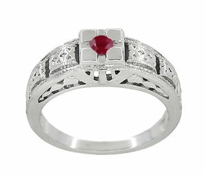 Filigree Engraved Art Deco Ruby Ring in 14 Karat White Gold - Click to enlarge