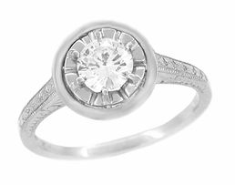 1/2 Carat Diamond Art Deco Solitaire Halo Engagement Ring in Platinum