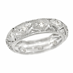 Art Deco Diamonds Millington Antique Wedding Band in Platinum - Size 5
