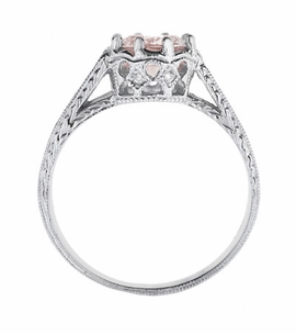 Art Deco Royal Crown Antique Style 1 Carat Morganite Engraved Engagement Ring in Platinum - Click to enlarge