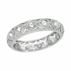 Art Deco Diamond Antique Wedding Band in Platinum - Size 8 1/4