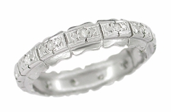 Retro Moderne Diamond Antique Wedding Band in Platinum - Size 6