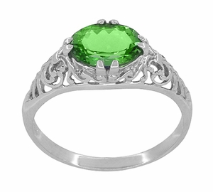 Edwardian Filigree Oval Tsavorite Garnet Engagement Ring in 14 Karat White Gold - Click to enlarge