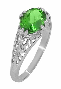 Edwardian Filigree Oval Tsavorite Garnet Engagement Ring in 14 Karat White Gold - Item R799TS - Image 2