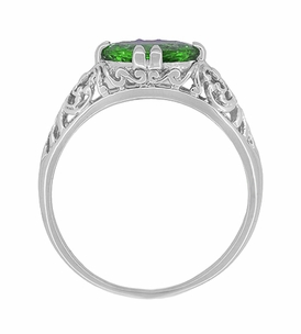 Edwardian Filigree Oval Tsavorite Garnet Engagement Ring in 14 Karat White Gold - Item R799TS - Image 3