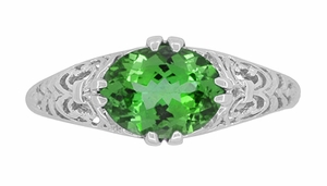 Edwardian Filigree Oval Tsavorite Garnet Engagement Ring in 14 Karat White Gold - Item R799TS - Image 4
