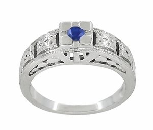 Art Deco Filigree Engraved Blue Sapphire Ring in 14 Karat White Gold - Item R160WS - Image 2