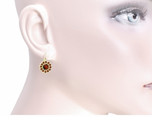 Victorian Bohemian Garnet Floral Earrings in 14 Karat Gold and Sterling Silver Vermeil - Item E142 - Image 2