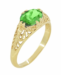 Edwardian Oval Tsavorite Garnet Filigree Engagement Ring in 14 Karat Yellow Gold - Item R799YTS - Image 1