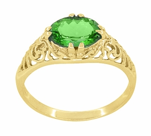 Edwardian Oval Tsavorite Garnet Filigree Engagement Ring in 14 Karat Yellow Gold - Click to enlarge