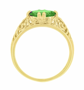 Edwardian Oval Tsavorite Garnet Filigree Engagement Ring in 14 Karat Yellow Gold - Item R799YTS - Image 3