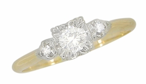 Mid Century Diamond Antique Engagement Ring in 14 Karat White and Yellow Gold - Click to enlarge