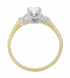 Mid Century Diamond Antique Engagement Ring in 14 Karat White and Yellow Gold - Item R741 - Image 2