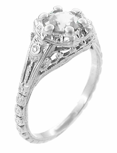 Art Deco Filigree Flowers Vintage Style White Sapphire Engagement Ring in 14K White Gold | Low Profile - Item R706WWS - Image 1