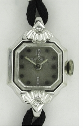 Ladies Bulova Art Deco Diamond Wristwatch in 14K White Gold