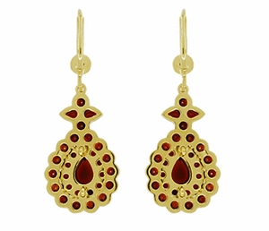Victorian Bohemian Garnet Teardrop Earrings in 14K Yellow Gold and Sterling Silver Vermeil - Item E180 - Image 2