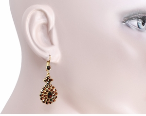 Victorian Bohemian Garnet Teardrop Earrings in 14K Yellow Gold and Sterling Silver Vermeil - Click to enlarge