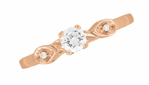 Retro Moderne White Sapphire Engagement Ring in 14 Karat Rose Gold - Click to enlarge