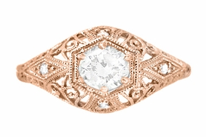 White Sapphire Filigree Scroll Dome Edwardian Engagement Ring in 14 Karat Rose Gold - Item R139RWS - Image 1