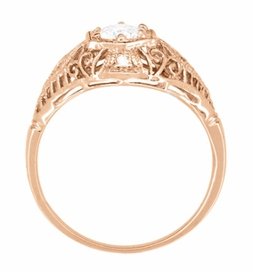 White Sapphire Filigree Scroll Dome Edwardian Engagement Ring in 14 Karat Rose Gold - Item R139RWS - Image 3