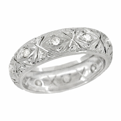 Art Deco Enfield Diamond Antique Wedding Ring in Platinum - Size 5 | Filigree Wedding Band