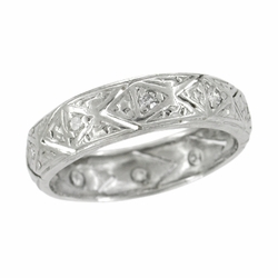 Art Deco Diamond Antique Wedding Band in Platinum - Size 6 1/2