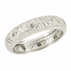 Art Deco Diamond Set Antique Wedding Band in 18 Karat White Gold - Size 6 3/4