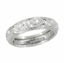 Filigree Art Deco Diamond Antique Wedding Ring in Platinum - Size 5