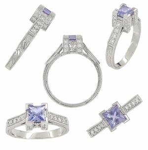 Art Deco 3/4 Carat Princess Cut Tanzanite and Diamond Engagement Ring in Platinum - December Birthstone - Click to enlarge