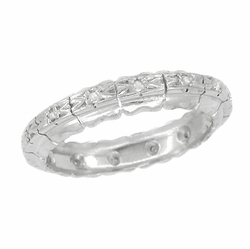 Retro Moderne Diamond Antique Wedding Band in Platinum - Size 7